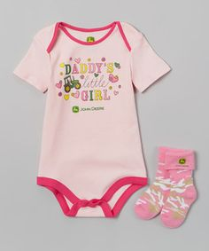 Look at this Pink 'Daddy's Little Girl' Bodysuit & Socks - Infant by John Deere John Deere Baby, Cool Kids Clothes, Camo Baby Stuff, Daddys Little Girls, Bodysuit, Baby & Toddler Clothing, Baby Girl Fashion, Future Baby, Baby Boy Outfits