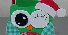 Sacolinha natalina de corujinha com molde