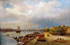 Вид на Неву и Петропавловскую крепость.  Лев Лагорио, 1859 год, из собрания Русского музея.