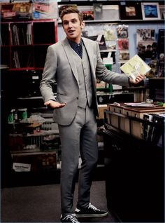 Donning a three-piece suit, Dan Stevens wears John Varvatos with a Michael Kors shirt and Saint Laurent sneakers.