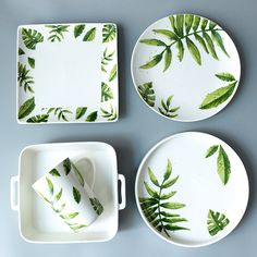 Top Christmas Dinnerware Crate And Barrel Painted Ceramic Plates, Ceramic Tableware, Hand Painted Ceramics, Ceramic Painting, Eclectic Dinnerware, Green Dinnerware, Dinnerware Sets, Tropical Dinnerware, Modern Decorative Plates