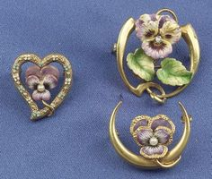 Pansy Beauty Pins - gold and enamel and I would be happy with any one of them.
