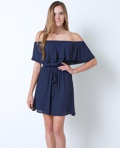 +Non-stretchy dress features layered ruffle off-shoulder