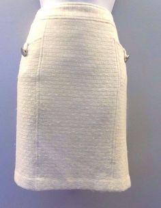 Women's Banana Republic Ivory / Off White Wool Blend Skirt Size 8…