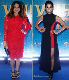 """Dira Paes de Carolina Herrera e Lucy Alves de Versace na festa da novela """"Velho Chico"""""""