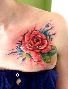 my watercolor rose tattoo