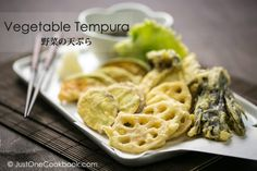 Crispy and delicious homemade vegetable tempura with Japanese sweet potato, Kabocha squash, lotus root, mushrooms, and Shiso.