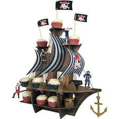 Meri Meri 'Ahoy There' Pirate Cupcake Stand Centerpiece Red