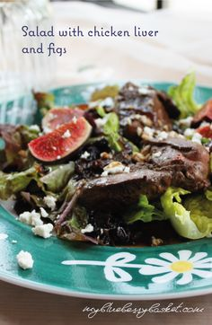 Delicious and light salad with chicken liver and figs. The recipe is easy to prepare and will become a tasty and healthy part of your cooking. Rachel Khoo, Salad Chicken, Healthy Food, Healthy Recipes, Chicken Livers, Caramelized Onions, Figs, Starters