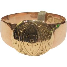 Victorian 15K Yellow and Rose Gold Engraved Ring 1897 for sale with Corvidae Antique