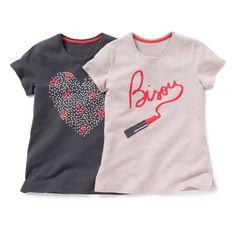 T-shirts de mangas curtas, estampadas motivo coração e batom (lote de 2) Pequenos Preços   La Redoute