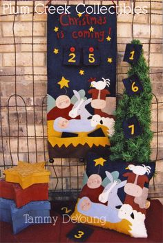 Christmas Advent Calendar, Christmas Nativity Pattern for Christmas countdown and Christmas pillow with Nativity theme...easy woolfelt applique!