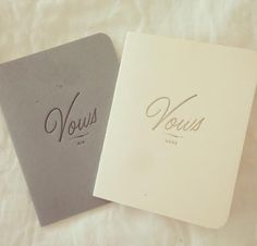 Vows!!  Hand-write them in these adorable booklets and exchange them with your love post-wedding.