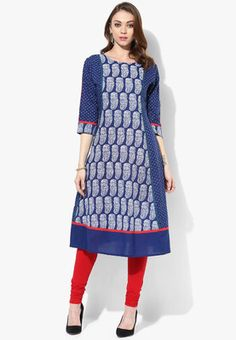 Round Neck Princessline Flared Kurta With 3/4Th Sleeves Detail Navy Blue in colour, this classy kurta from Sangria will certainly lend you a graceful, elegant look. Fashioned from 100% cotton, this kurta will ensure a comfortable fit. Featuring an attractive print, this kurta will go well with white leggings and high heels. http://jbo.ng/X2ULGNp