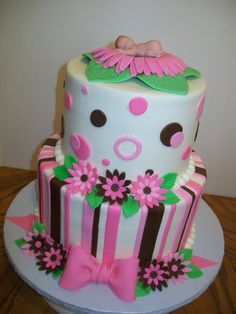 6 and 8 inch tiers iced in buttercream with fondant decorations. Need to get a baby mold...these are not easy to make!