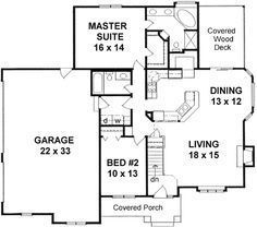 No basement = no stairway Style House Plans - 1309 Square Foot Home , 1 Story, 2 Bedroom and 2 Bath, 3 Garage Stalls by Monster House Plans - Plan 2 Bedroom House Plans, Garage House Plans, House Plans One Story, One Story Homes, Craftsman Style House Plans, Story House, Small House Plans, House Floor Plans, Car Garage