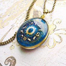 Fashion Constellation Print Glass Pendant Sweater Chain Necklace For Women