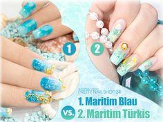 #nails #pns24 #blau #maritim Blau und Türkis wecken direkt wieder Sommerlaune oder? Welche Farbkombi ist Euer Favorit: 1 oder 2? Eure Juliane