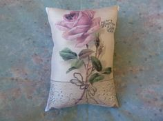 Rose Pillow from Vintage Card with Lace by Maisonvogue on Etsy, $15.00