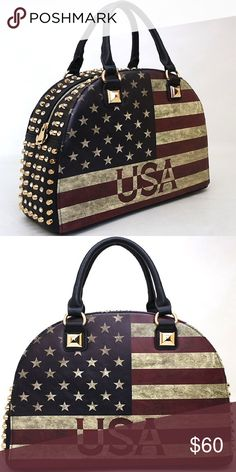 Black rhinestone American flag vintage tote Approximate Size: L 14.5 * H 11 * W 6 (D) Designer inspired Handbag Faux Leather Zip top closure Gold-tone hardware Detachable shoulder strap Fully lined interior includes inside zippered pocket & cell phone pouch Virtuous Designs  Bags Totes