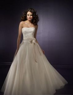 Tulle Strapless Empire Waist Ball Gown with Detachable Sash and Sweep Train Bridal Dress WL-0037