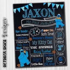 Cookie Monster Birthday Chalkboard / Sesame Street / Chalkboard Poster / Printable / Custom / 1st year / Printable Chalkboard