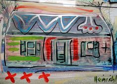 Amerika Haus   Öl auf Papier Love  Malerei