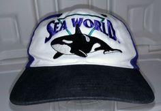 Vintage-Sea-World-Hat-Purple-Adjustable-Snapback-Ball-Cap-SeaWorld-Shamu-Whale