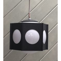 1960s MOD Black and White Pendant Light Fixture Lavery Brand Brentwood Series NOS Vintage - pinned by pin4etsy.com