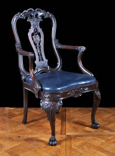 Antique Carved Mahogany Armchair in the Georgian Chippendale English Rococo Manner