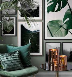 Vackra posters i grönt. Posters med naturmotiv och botaniska prints