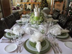 The Welcomed Guest: Green & White Christmas Tablescape