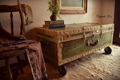 Antique trunk. Distressed. handpainted