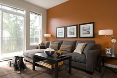 ideas for living room paint ideas with accent wall burnt orange Grey And Brown Living Room, Living Room Orange, Accent Walls In Living Room, Living Room Paint, Room Wall Colors, Living Room Colors, Interior Design Living Room, Living Room Designs, Sala Grande