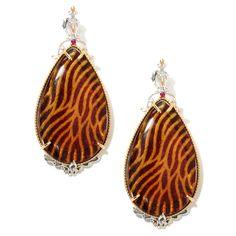 """132-632 - Gems en Vogue 2.25"""" Carved Amber Animal Print Intaglio & Ruby Teardrop Earrings"""