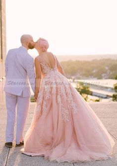 Tulle Wedding Dress A-Line Princess V-Neck Court Train With Appliqued!  Stacees c4ec7fa06