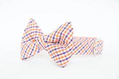 Clemson Tigers Bow Tie Dog Collar in Gingham by pecanpiepuppies