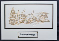 Stamp designed by Jayne Nestorenko and stamped with Inca Gold. Quick and easy Christmas card. Simple Christmas, Christmas Cards, Merry Christmas, I Card, Card Making, Stamp, Scrapbook, Seasons, Easy