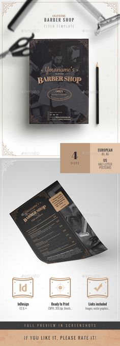 Oldtime Barber Shop Flyer Template  #flyer #scissors • Click here to download ! http://graphicriver.net/item/oldtime-barber-shop-flyer-template/16081783?ref=pxcr