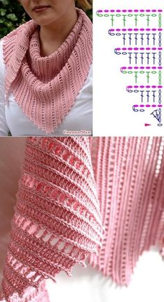 Crochet Shawl Diagram, Crochet Chart, Crochet Stitches, Crochet Shawls And Wraps, Crochet Scarves, Crochet Clothes, Shawl Patterns, Crochet Blanket Patterns, Crochet Collar