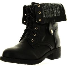 Refresh Womens Dason-03 Cuff Military Low Heel Lace Up Mid-Calf Riding... ($41) ❤ liked on Polyvore featuring shoes, boots, combat boots, black, sapatos, black wedge boots, black lace up boots, black flats, lace up wedge boots and black military boots