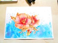 Pinta una rosa con acuarelas