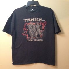 """Large World of Warcraft Tank T-shirt Worn only a few times. Size large World of Warcraft t-shirt. Says, """"Tanks...you're welcome"""". PERFECT CONDITION. Tops Tees - Short Sleeve"""