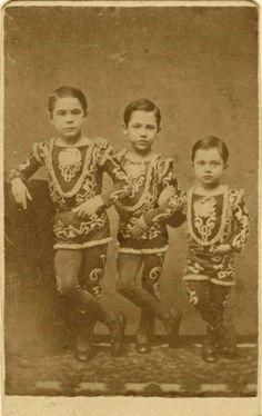ca. 1870-80s, [carte de visite portrait of three child acrobats in elaborate costume], Drew  Maxwell via Ebay