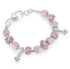 Silver Charm Bracelet with Pink Crystal Murano Glass Beads