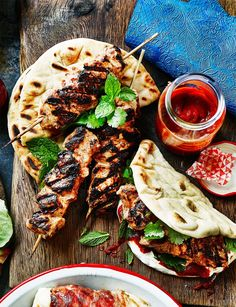 Moroccan chicken flatbreads
