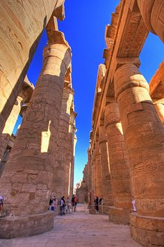 Incredible columns of Hypostyle Hall in the Karnak Temple complex in Luxor, Egypt