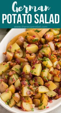 This German Potato Salad is made with red potatoes, bacon, and a homemade dressing made of vinegar, bacon drippings, and honey mustard. Serve it warm or chilled! #salad #potatoes #recipes | easy recipes | side dish recipes | little potatoes | summer recipes Best Salad Recipes, Salad Dressing Recipes, Side Dish Recipes, Easy Recipes, Easy Meals, Cooking Recipes, Potato Dishes, Vegetable Side Dishes, Potato Recipes