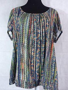 Liz Claiborne Womens Plus 2X Rayon Poly Blend short sleeve printed knit shirt
