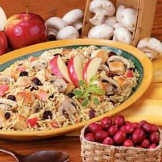 Apple Chicken and Rice  Nutritional Facts:  Nutritional Analysis: One 1-1/4 cup serving (prepared with reduced-sodium broth) equals 391 calories 8 g fat (4 g saturated fat), 81 mg cholesterol, 818 mg sodium, 48 g carbs, 3 g fiber, 32 g protein.   Diabetic Exchanges: 3 lean meat, 2 starch, 1 fruit.